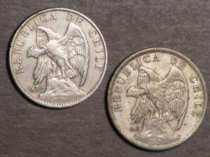 CHILE 1915 & 1921 1 Peso Silver VF - Lot of 2 Coins
