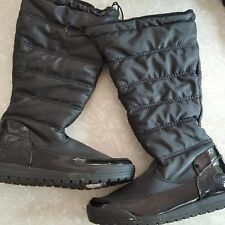 Totes Thermolite Boots Black Patent Leather Waterproof Pull On Winter Snow SZ 6M