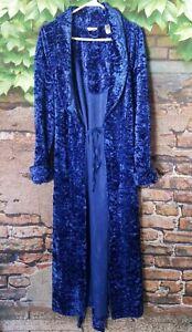 Plush Royal Blue Vintage Chenille Full Length Thick Long Sleeve Bathrobe