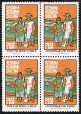 CHILE 1968 AIR MAIL STAMP # 721 MNH BLOCK OF FOUR AGRARIAN REFORM