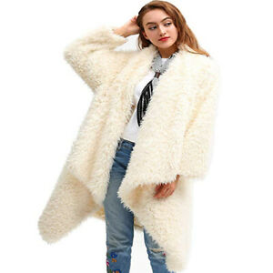 Womens Shaggy Faux Fur Lapel Fashion Trench Outwear Casual Loose Overcoat Tops