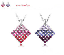 18K GP Red/Purple Crystal Gradient Necklace/Free Shipping