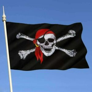 Skull with Crown Pirate Flag Polyester 3x5 Foot Crossbones Jolly Roger Banner
