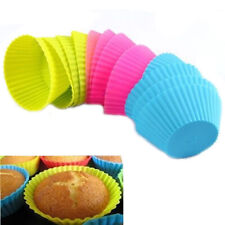 12PC Silicone Soft Cake Muffin Chocolate Cupcake Bakeware Baking Cup Mold Moulds