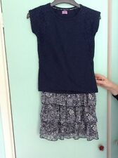 Girls F&F Age 8/9 Outfit: Navy Lace Top And Floral Frill Skirt