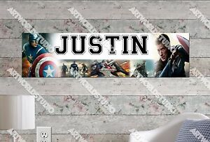 Personalized/Customized Captain America Name Poster Wall Art Decoration Banner