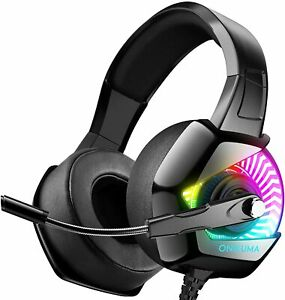 Gaming Headset-PS4  with Mic, 7.1 Surround Sound & RGB LED Light headphones