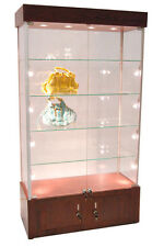 Premium ASSEMBLED Cherry Wall Glass Display Case Showcase Light & Lock NY PICKUP