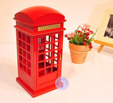"""Play """"Canon in D"""" Wooden London Telephone Booth Music Box from Sankyo Movement"""