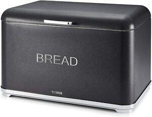 Tower T826014B Bread Bin, Glitz Range, Coated Steel with Chrome Accents, Black