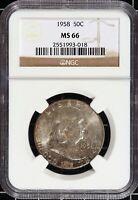 1958-P-NGC MS66 Franklin Half Mint Set Toner Gem High Grade Silver US Type Coin
