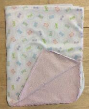 Pink Sherpa Baby Blanket White Plush Velour Butterflies Security Lovey
