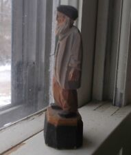 """ANTIQUE HAND CARVED WOOD FOLK ART OLD MAN 3 1/2""""TALL JEWISH OR RUSSIAN?"""