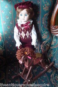 "Jesse Gorham all ceramic doll with rocking horse,17"" , NIB Ltd Ed of 1,000 ORIGI"