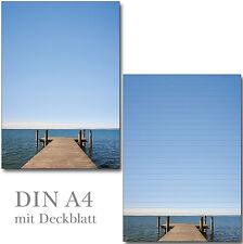 Schreibblock Seeblick liniert A4 25 Blatt Briefpapier Motivpapier Block Wasser