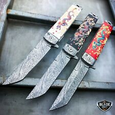 "8"" Dragon Damascus Sword Style Spring Open Assisted Folding Pocket Knife Blade"