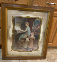 Antique Abide With Me Print Of Mother & 2 Children Singing With Frame And Matte