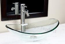Bathroom Clear Oval Glass Vessel Vanity Sink Nickel Faucet & Drain TB15N3