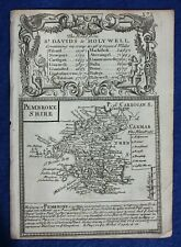 Original antique map from 'Britannia Depicta', PEMBROKESHIRE, Bowen, c.1724