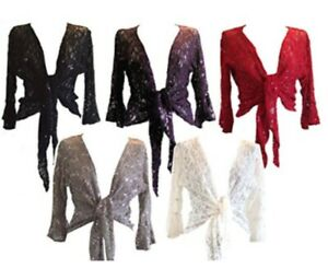Womens Sparkly Sequin Lace Front Tie Evening Bolero Shrug party high quality