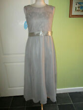 BNWT LADIES SPECIAL OCCASION DRESS LONG SILVER NET & CHIFFON UK SIZE 8-10