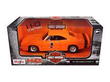 MAISTO HARLEY DAVIDSON 1969 DODGE CHARGER R/T 1/25 DIECAST CAR ORANGE 32196