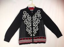 Cardigan Sweater zipper up front size Large Black Red White