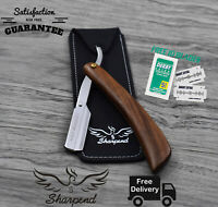 Wood Style Barber Hair Shaving Razor Straight Edge Folding Knife + Free Blades