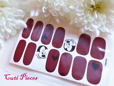 NailArt Self Adhesive Full Nail Polish Wrap Sticker Cranberry Mickey Hearts Y285