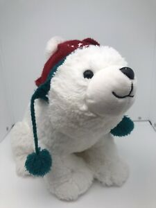 Hallmark NORTHPOLE SHIVERING POLAR BEAR with Beanie Christmas PLUSH - SEE VIDEO