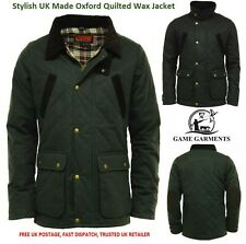 Wax Jacket / Men's Oxford Quilted Waxed Jacket. Black or Olive
