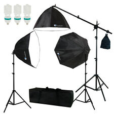 Photo Studio Photography 3 Softbox Light Stand Continuous Lighting Kit Soft Box