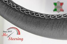FOR FORD ANGLIA 15'' - BLACK LEATHER STEERING WHEEL COVER, LIGHT GREY STIT