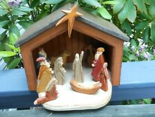 Nativity Wooden Stable w/ Hand Carved Wood Nativity Figures