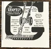 1940 Gravely Garden Tractor & Power Mower Print Ad Three Machines in One
