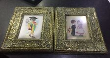 2 Antique Brass Frame With Heavy Patena And Embroidered Picture By Constanza