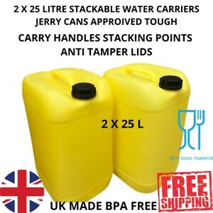 2 X 25 litre new plastic bottle jerry can water carrier approved tough yellow