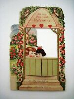 Cute Garden Mechanical Valentine Card w/ Boy & Girl Sitting in Gazebo  *