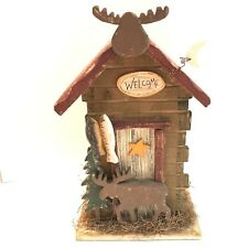 Rustic Country Wood House Moose Fish Tabletop Decor Cottage Cabin Look
