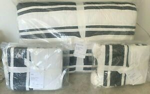 Pottery Barn Mesa Striped Handcrafted KING quilt 2 KING shams BLACK