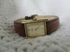 Seiko Analog Watch with Leather Buckle Band and Goldtone Numerals WORKING!