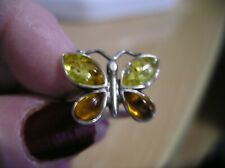 Citrine Gemstone Butterfly Sterling Silver Ring size l/m