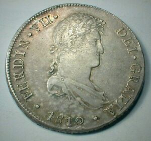 1819-L,JP  PERU 8 Reales Silver Crown Size Coinage Mounts Removed   (611)