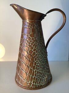 Joseph Sankey - Hammered Copper Lizard Skin Jug -Art Nouveau - Size 2