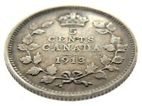 1913 Canada Five Cents Small Silver Canadian Circulated George V Coin M850