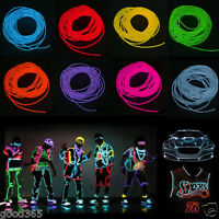 LED Flash Flessibile Neon Luce Glow EL Strip Tube Wire Corda 12V Controller Kit