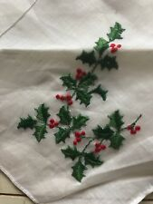 Vintage Ladies Handkerchief Embroidered Christmas Holly Holiday White New