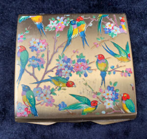 """Vintage Stratton """"Punt"""" Powder Compact With Exotic Birds"""