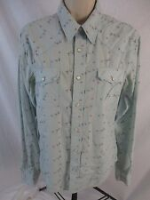 Hollister Womens Small Blue Floral Western Pearl Snap Long Sleeve Shirt CB46F