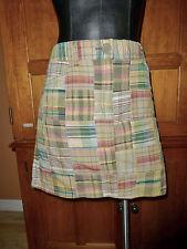 Ann Taylor LOFT 100% Cotton Madras Plaid Patchwork size 8 Pokets Mini SKIRT C36